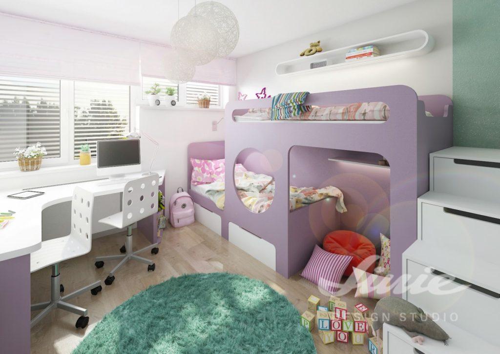 Dětský pokoj s postelí ve fialové barvě