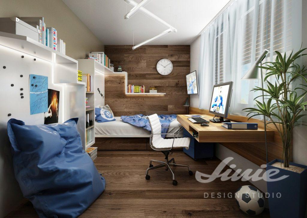 Chlapecký pokoj s prvky z tmavého dřeva