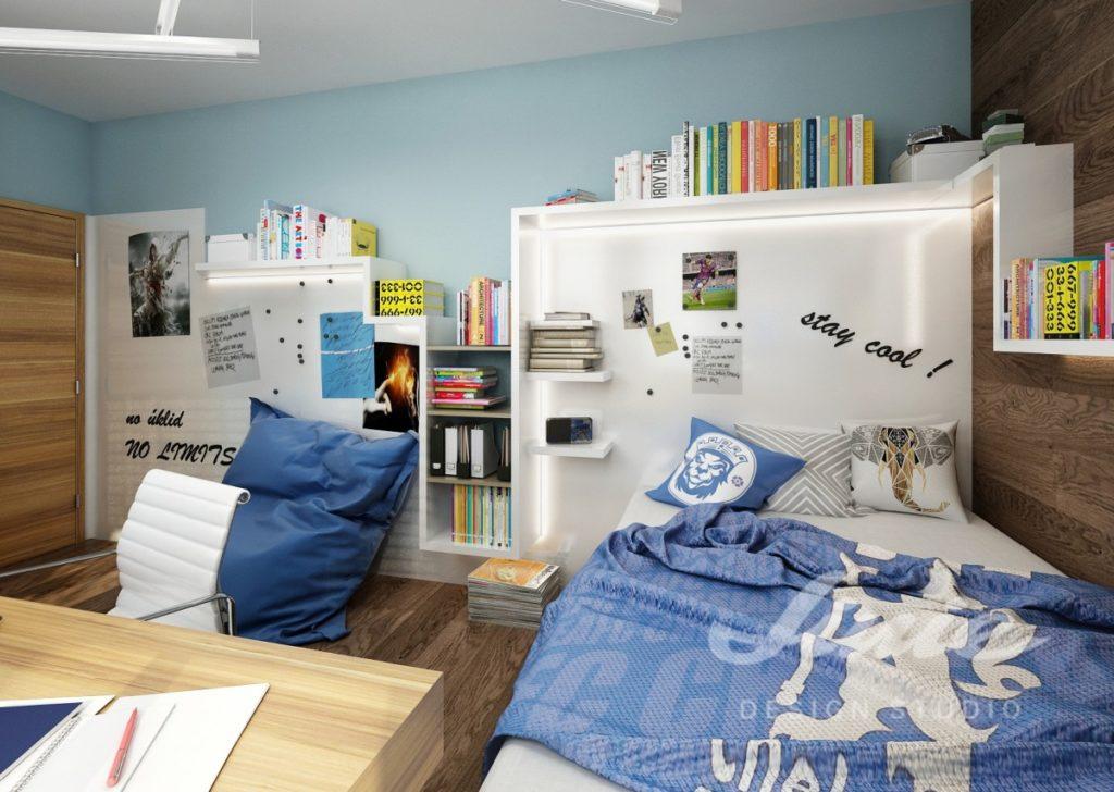 Chlapecký pokoj zařízený v modrých odstínech