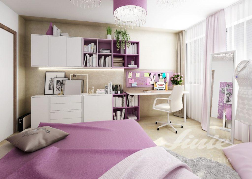 Dětský pokoj se světlým nábytkem a fialovými detaily