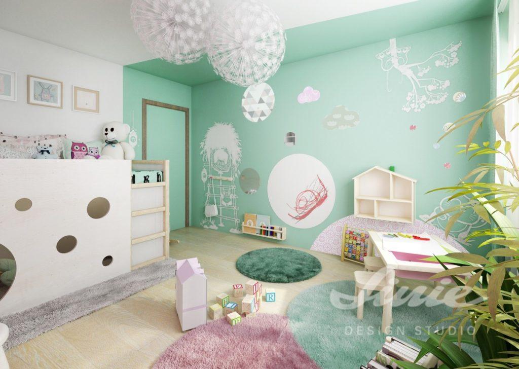 Dětský pokoj s hráškově zelenou stěnou