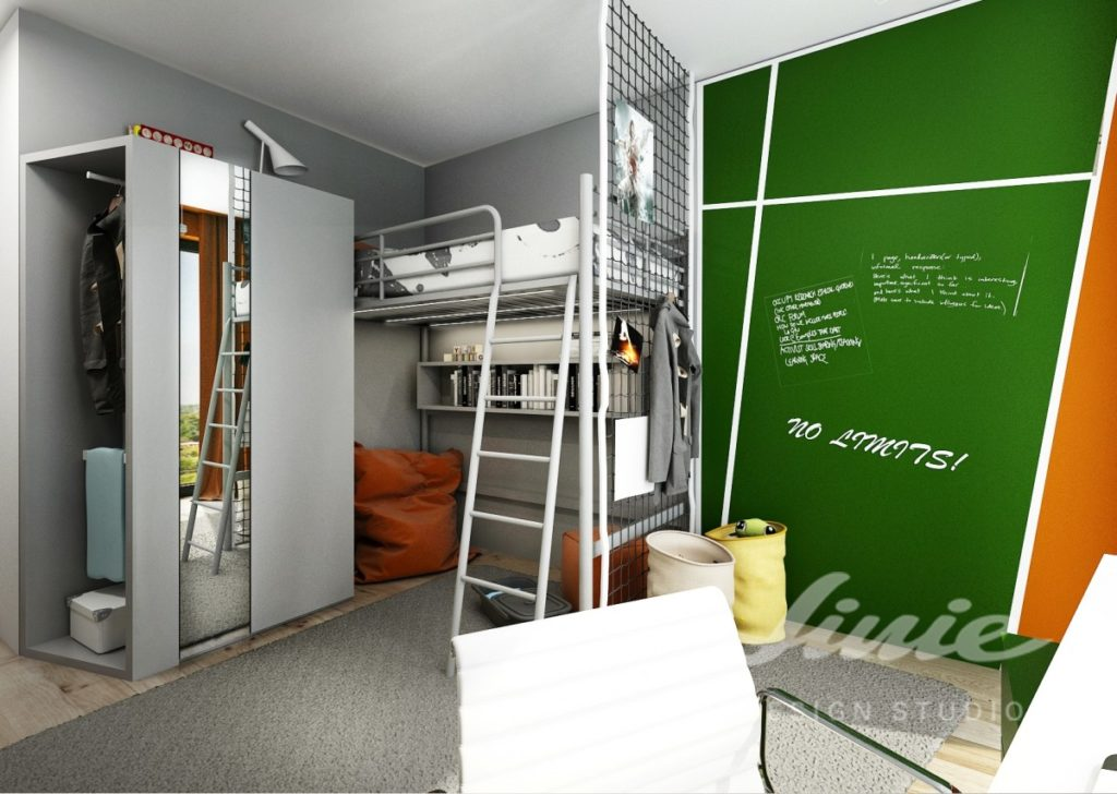 Chlapecký pokoj se zeleno oranžovou stěnou