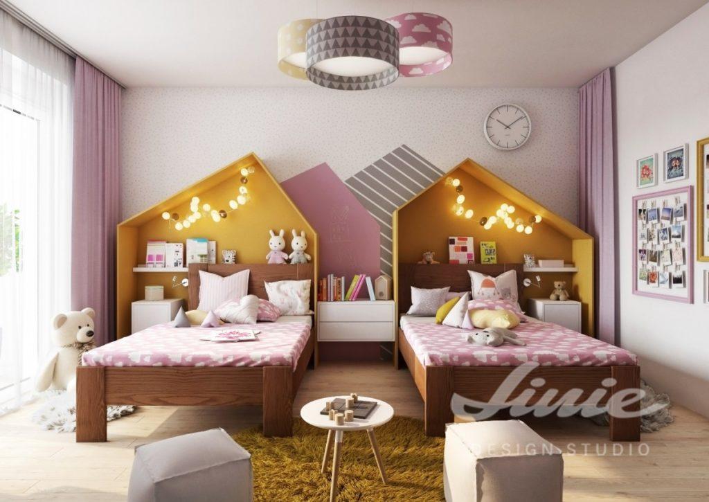 Moderní dívčí pokoj pro dvojčata s růžovými prvky