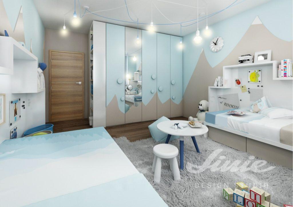 Dětský pokoj zařízený v pastelově modrých tónech