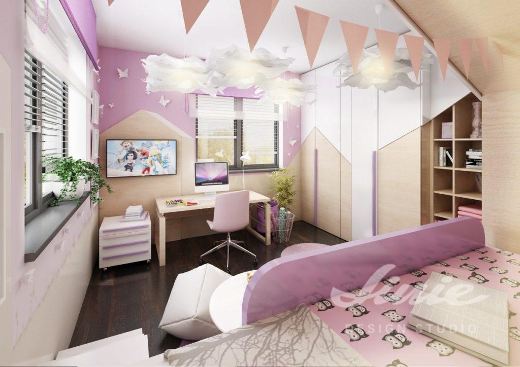 Dívčí pokoj zařízený ve fialových odstínech