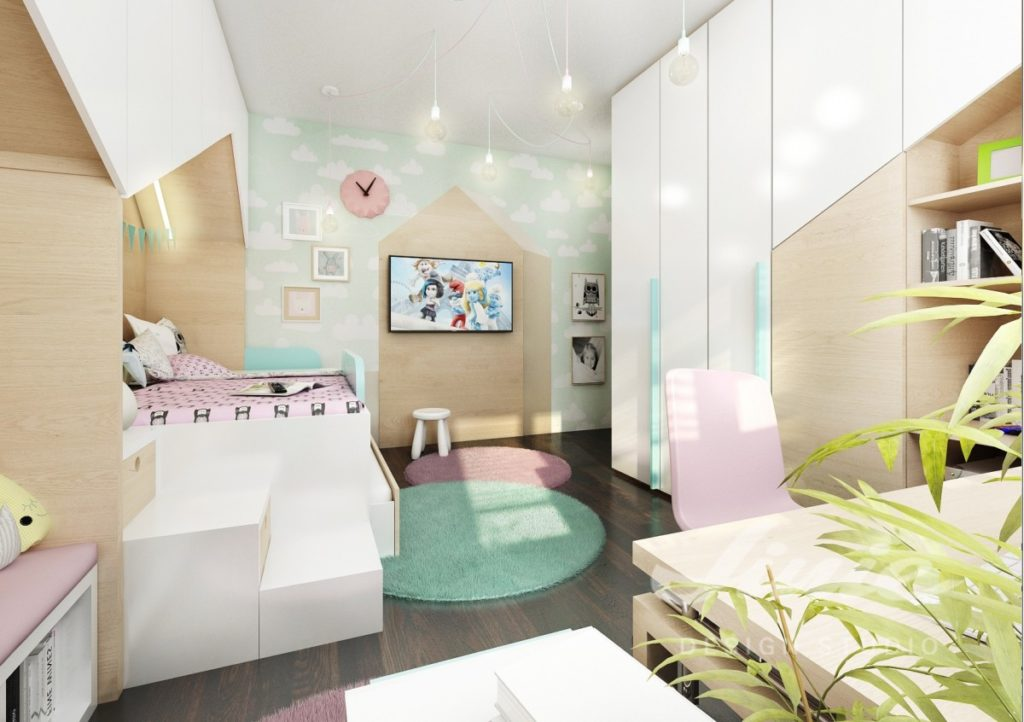 Dětský pokoj s tyrkysovými a růžovými detaily