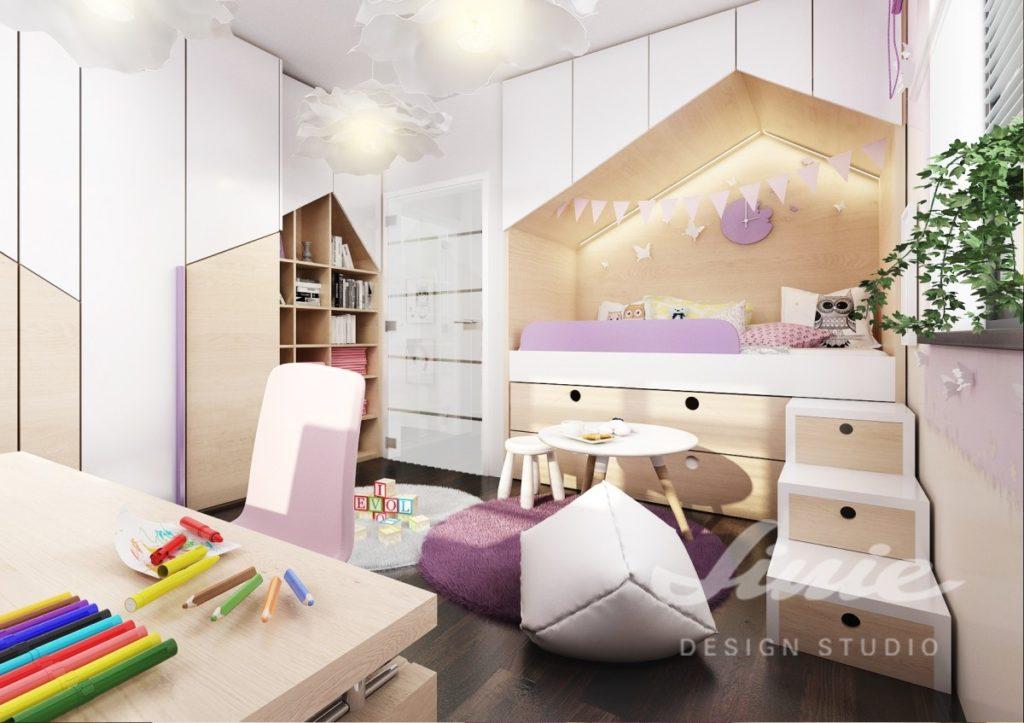 Dívčí pokoj s bílými a fialovými prvky