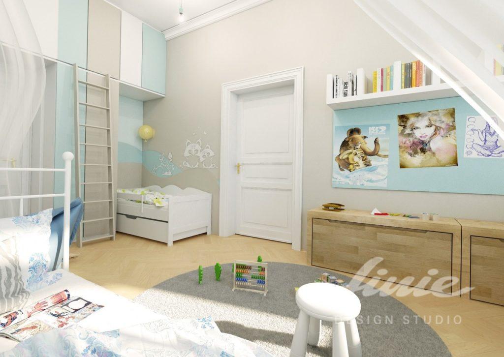 Chlapecký pokoj ve světle modrých odstínech
