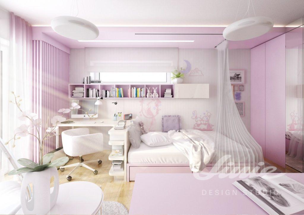 Dívčí pokoj zařízený ve světle fialové barvě