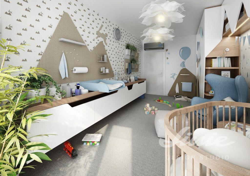 Dětský pokoj se světle modrými prvky