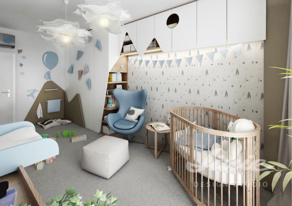 Dětský pokoj s pastelově modrými detaily