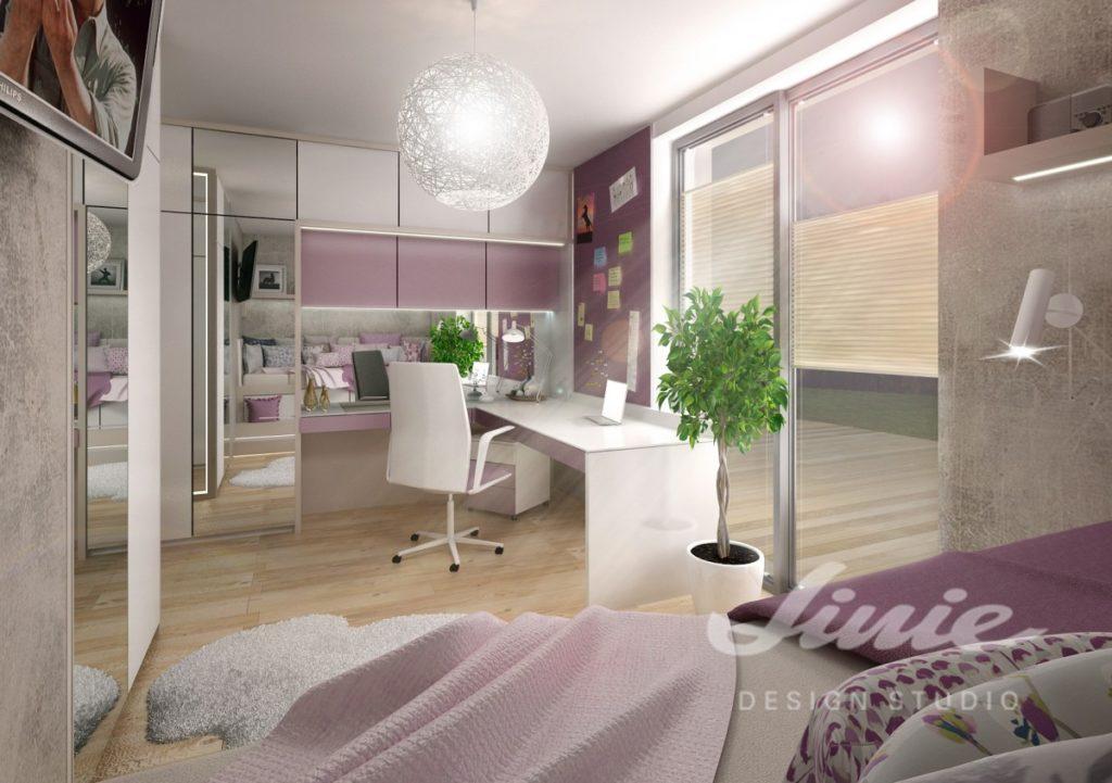 Studentský pokoj s tlumeně fialovými prvky