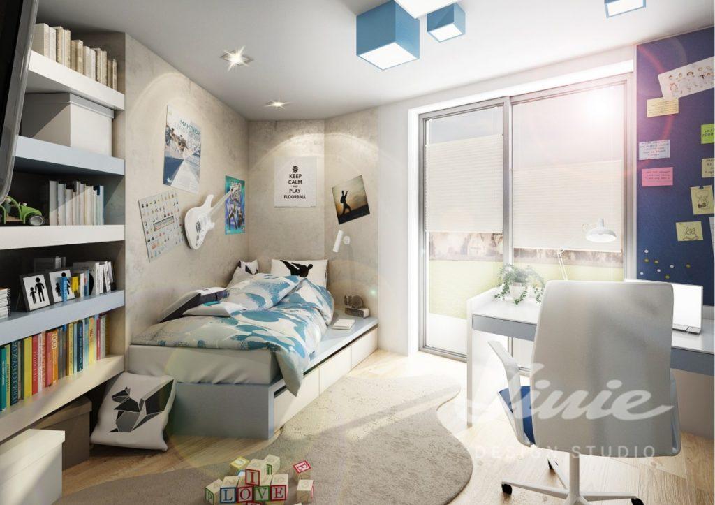 Studentský pokoj s modrými prvky