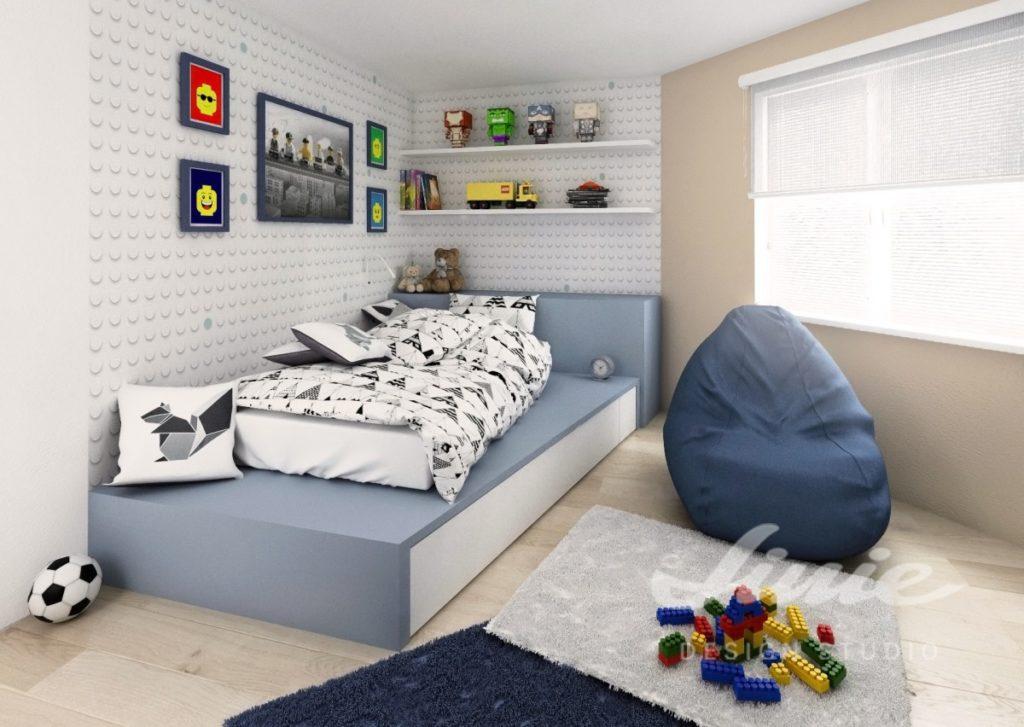 Moderní dívčí pokoj s šedými a moderými detaily