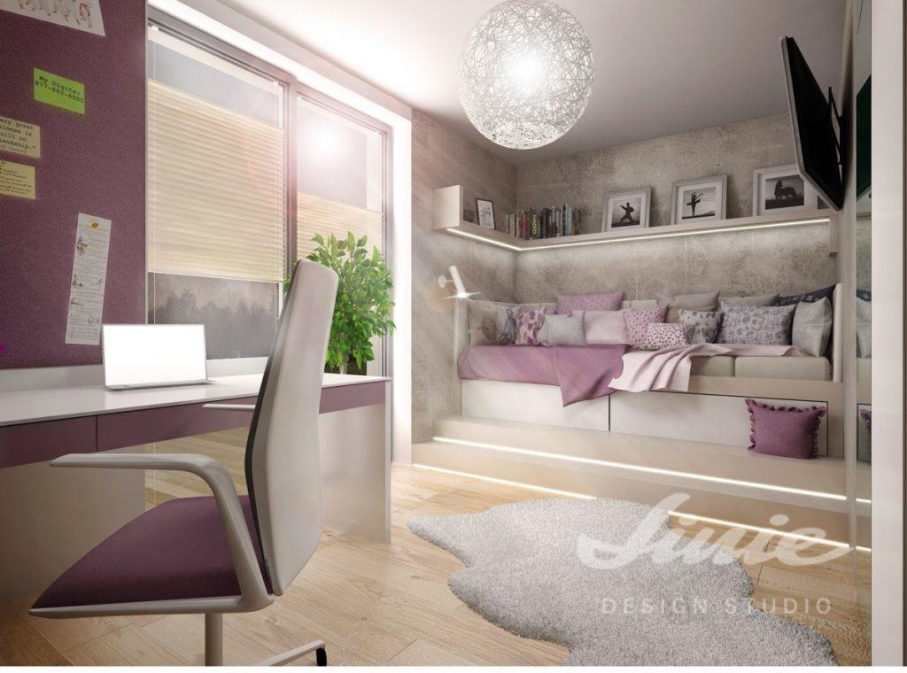 Studentský pokoj s tlumeně fialovými odstíny