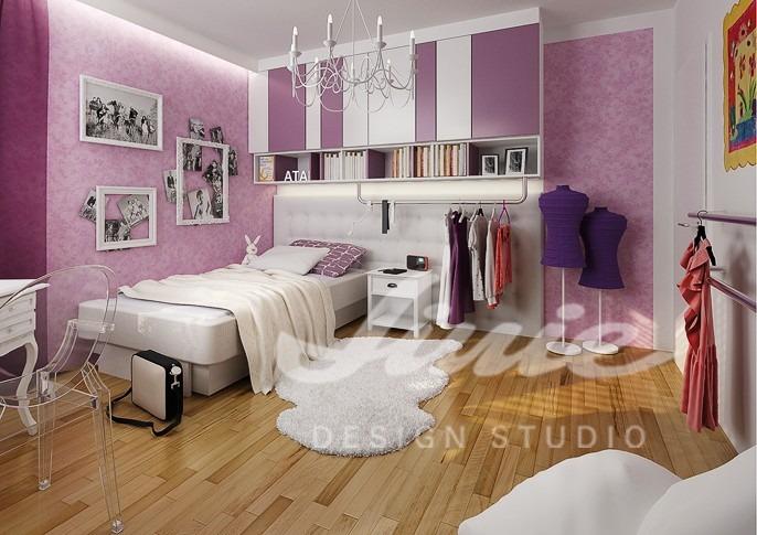 Studentský pokoj ve fialových odstínech