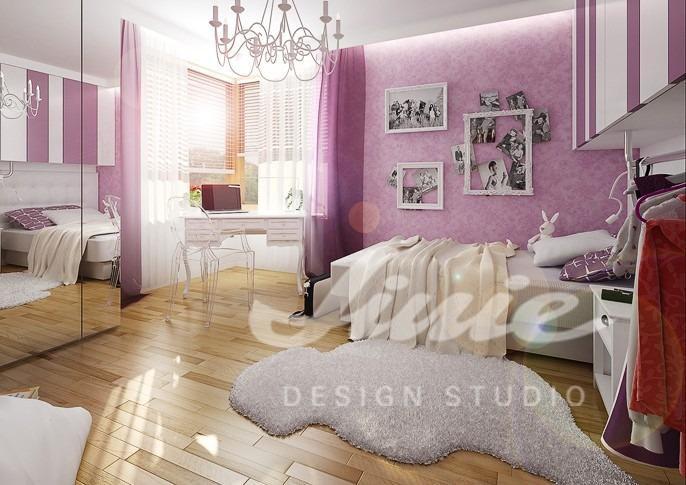 Studentský pokoj s fialkovými detaily