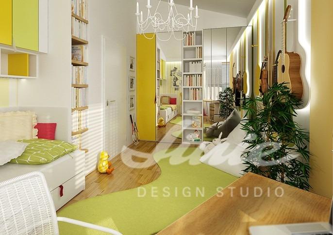 Studentský pokoj ve žlutých odstínech