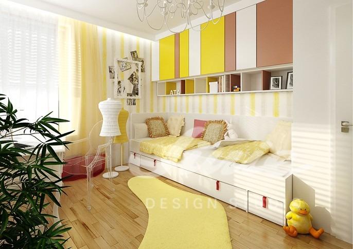 Studentský pokoj se žlutými detaily
