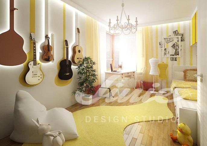 Studentský pokoj ve žlutých tónech s hudebními nástroji