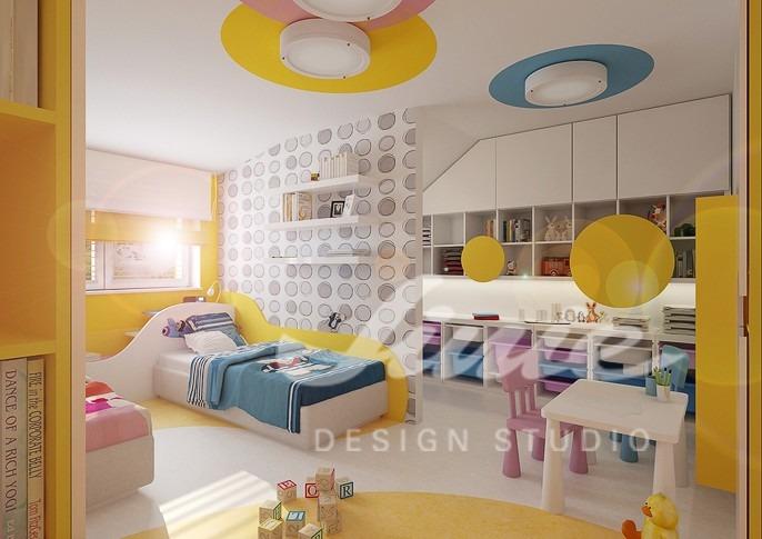 Dětský pokoj s žlutými detaily