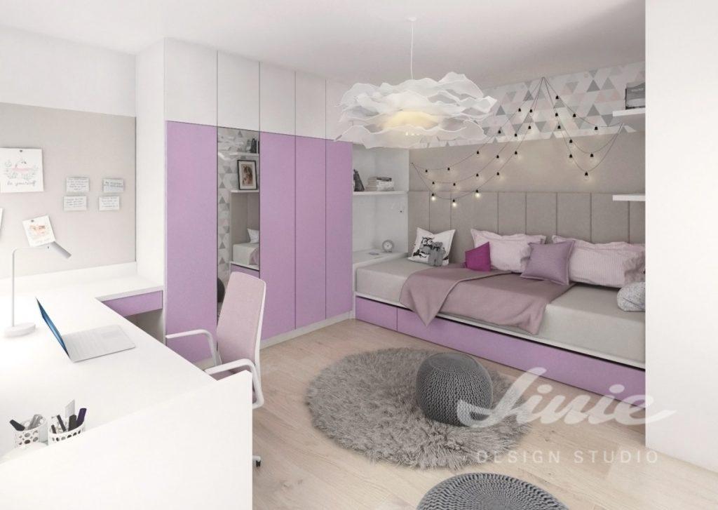 Moderní dívčí pokoj s šedými a fialovými detaily