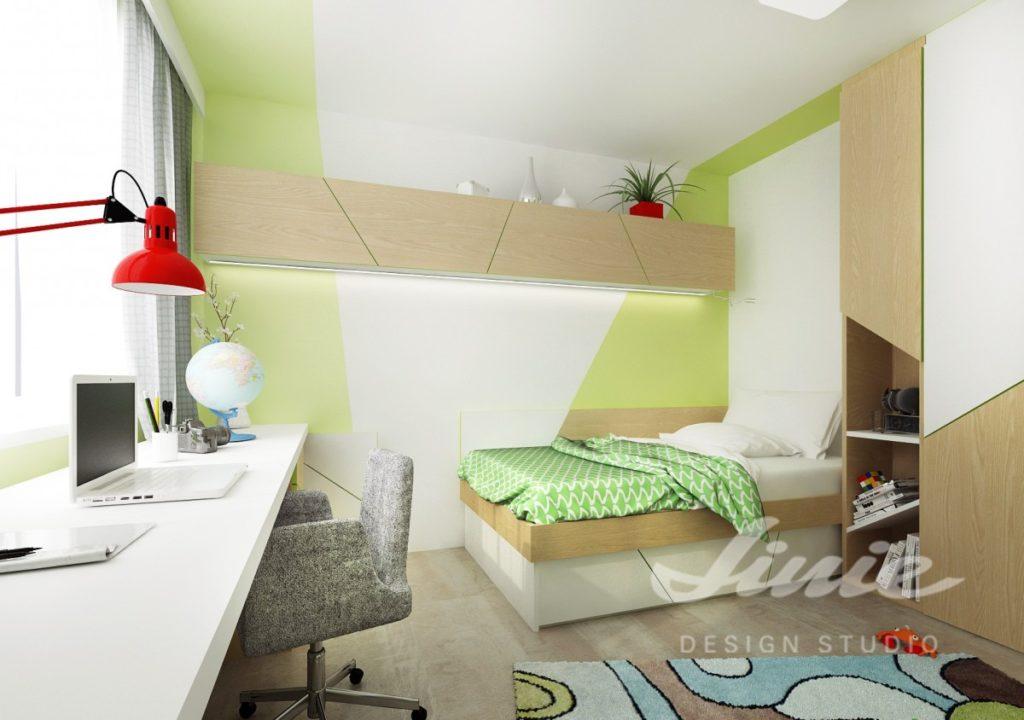 Dětský pokoj s jasně zelenými prvky