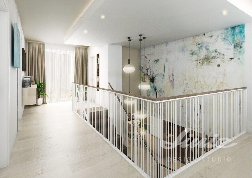 Moderní hala s podlahou ze světlého dřeva