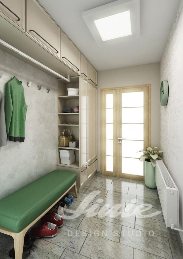 Moderní předsíň s designem se zelenými prvky