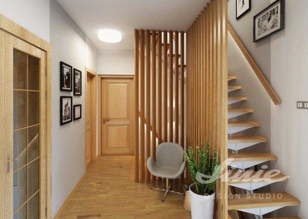 Moderní předsíň s prvky a schodištěm ze světlého dřeva