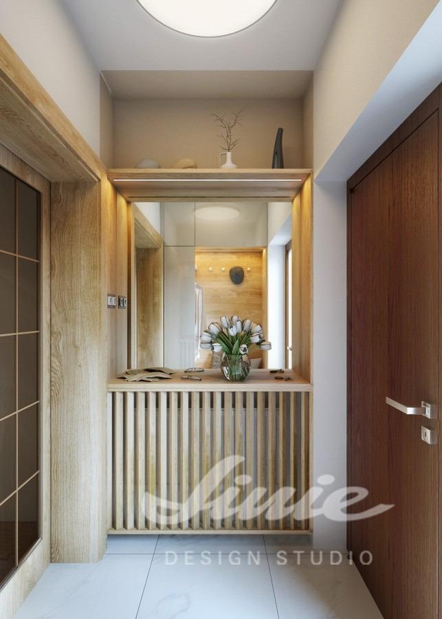 Moderní předsíň s designem ve světlém a tmavém dřevě