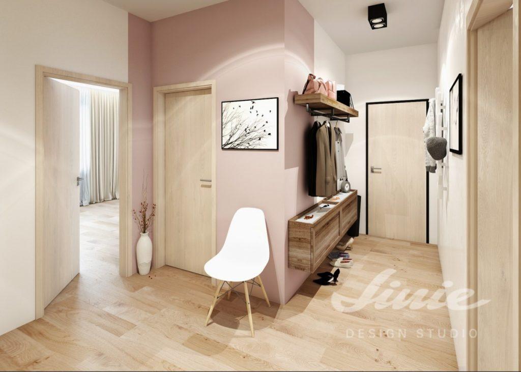 Moderní předsíň s pudrově růžovým detailem