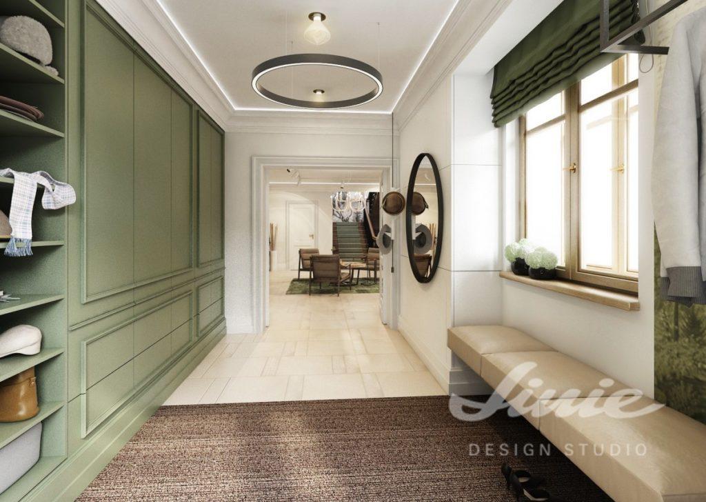 Moderní předsíň s tmavě zelenými detaily