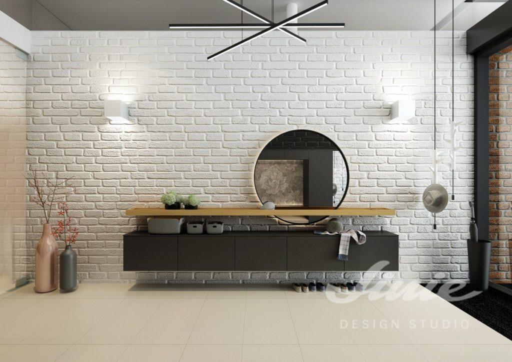 Moderní hala s motivem bílých cihel