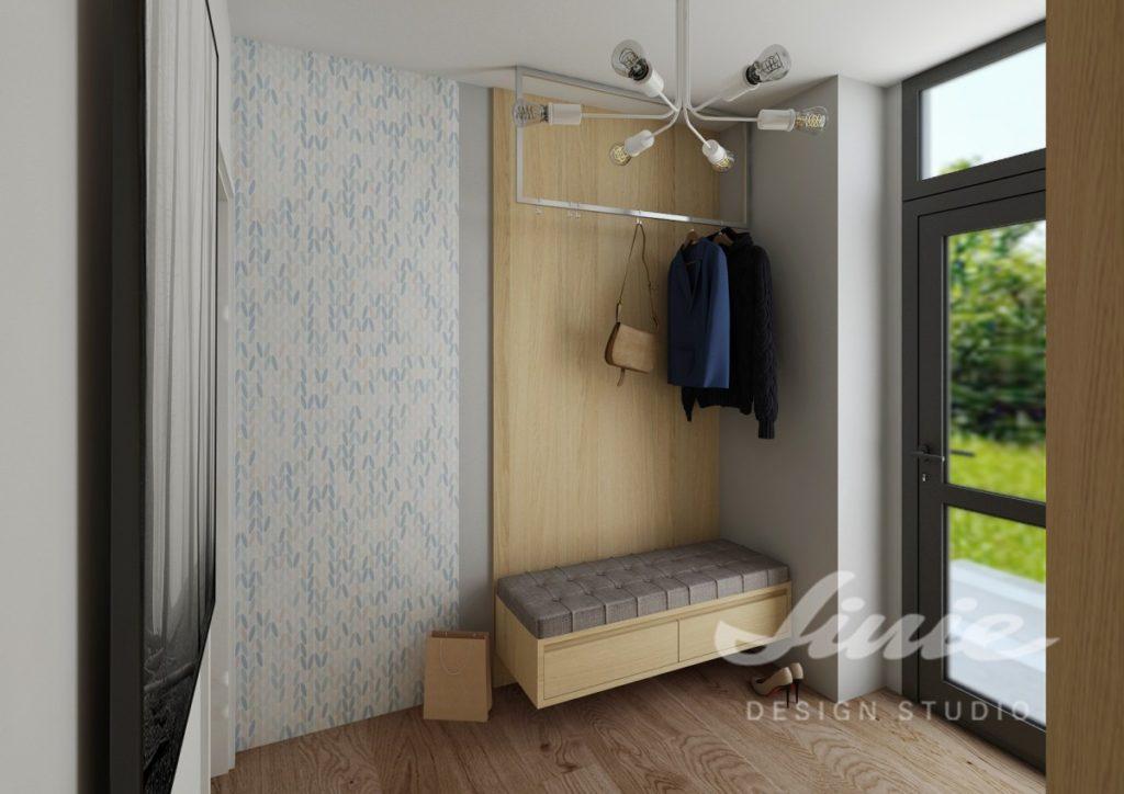 Moderní předsíň ve světlém dřevě s modrými detaily