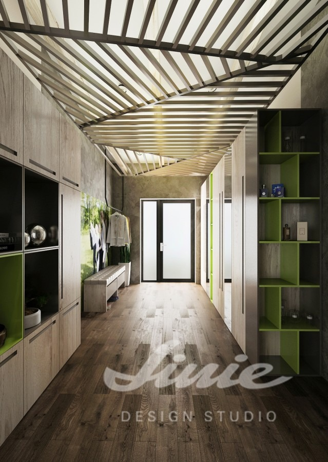 Moderní předsíň s šedými a zelenými prvky