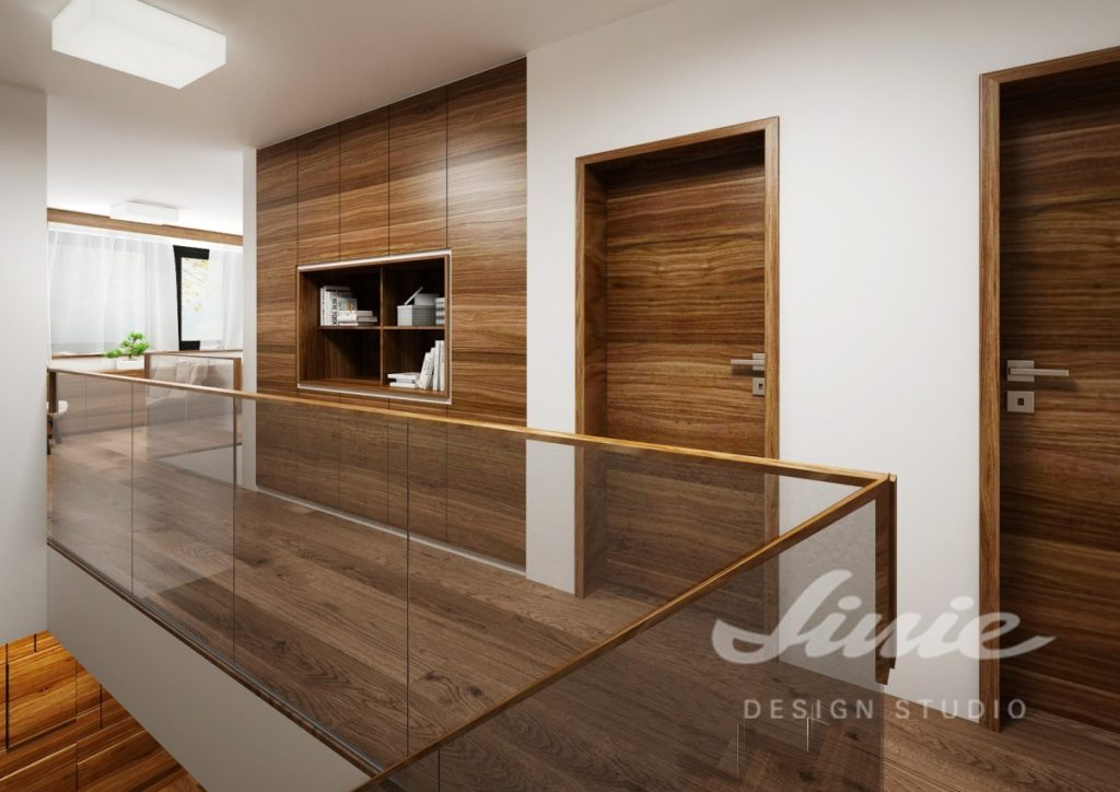 Moderní hala s dveřmi z tmavého dřeva