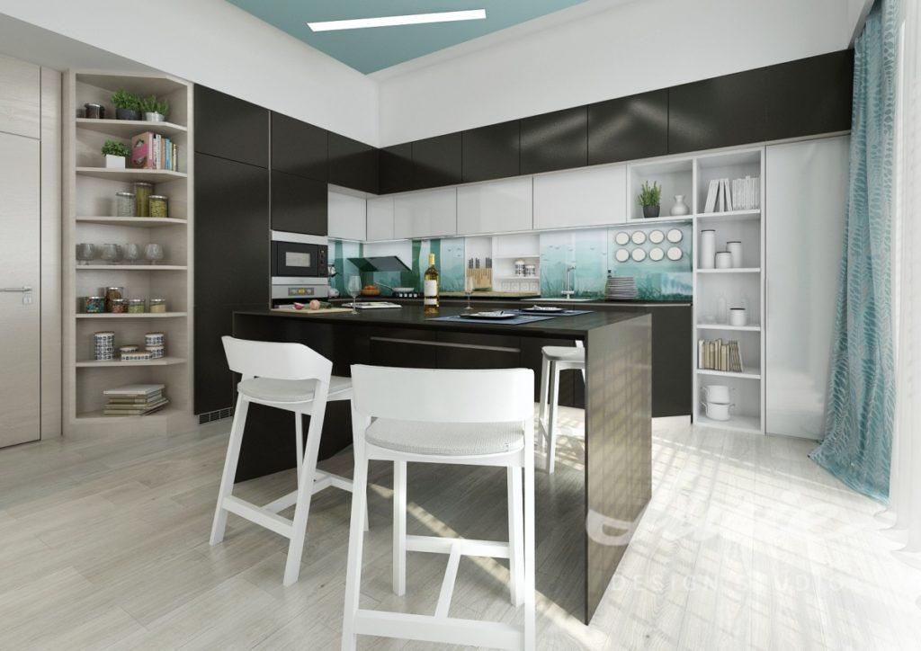 Inspirace pro kuchyně s černými a bledě tyrkysovými detaily