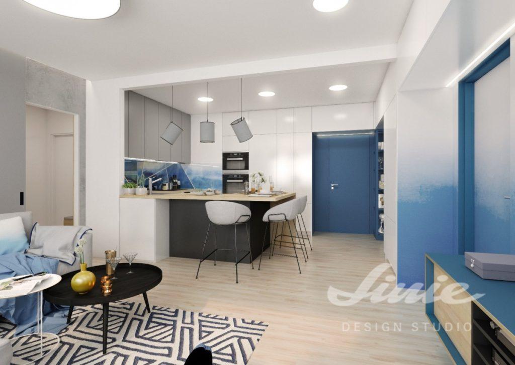 Inspirace pro kuchyně s moderním modrým interiérem
