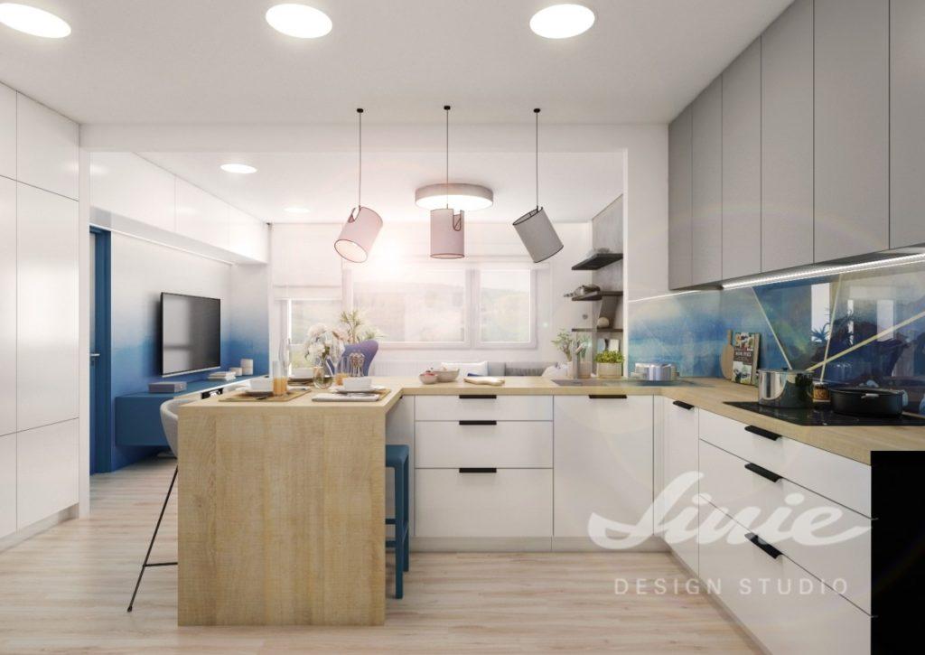 Inspirace pro kuchyně s moderním modrým designem