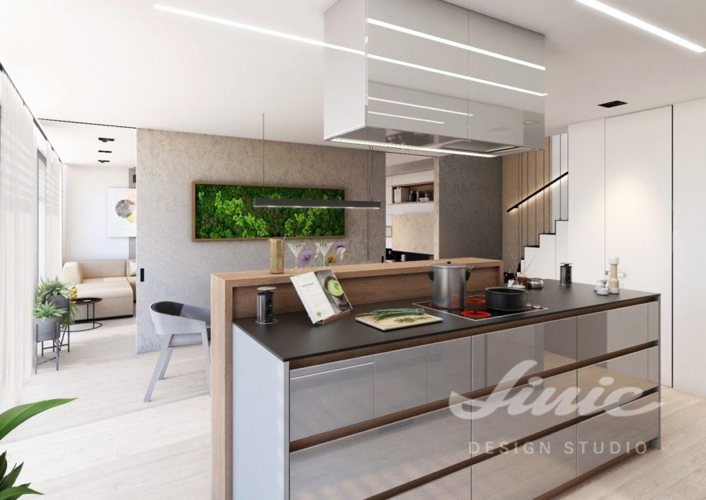 Inspirace pro kuchyně moderního vzhledu se šedými úložnými prostorami
