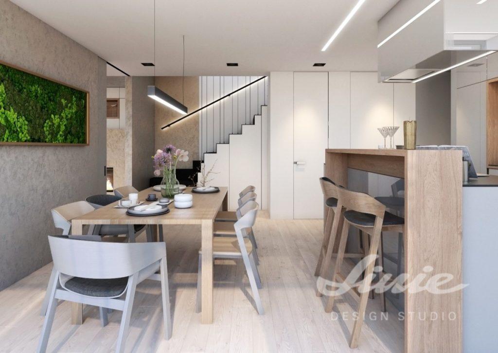 Inspirace pro kuchyně moderního vzhledu se světlými úložnými prostorami