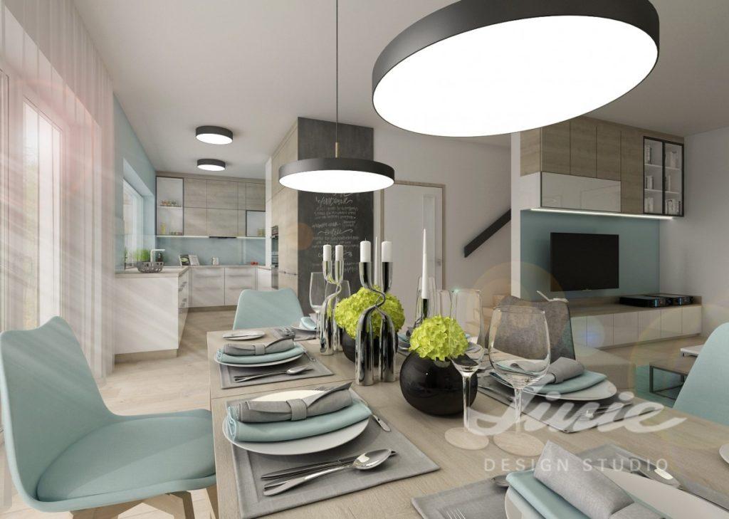 Inspirace pro kuchyně s prvky v pastelově modrých odstínech