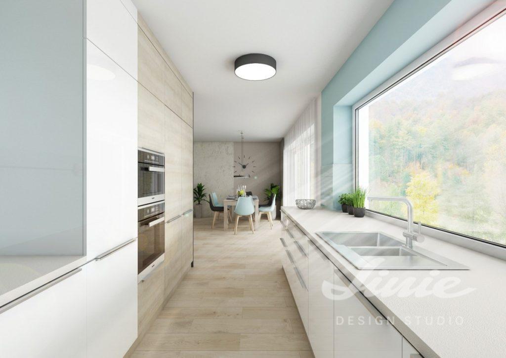 Inspirace pro kuchyně s prvky v jemně modré barvě