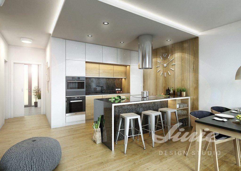 Inspirace pro kuchyně moderního vzhledu s bílými úložnými prostorami