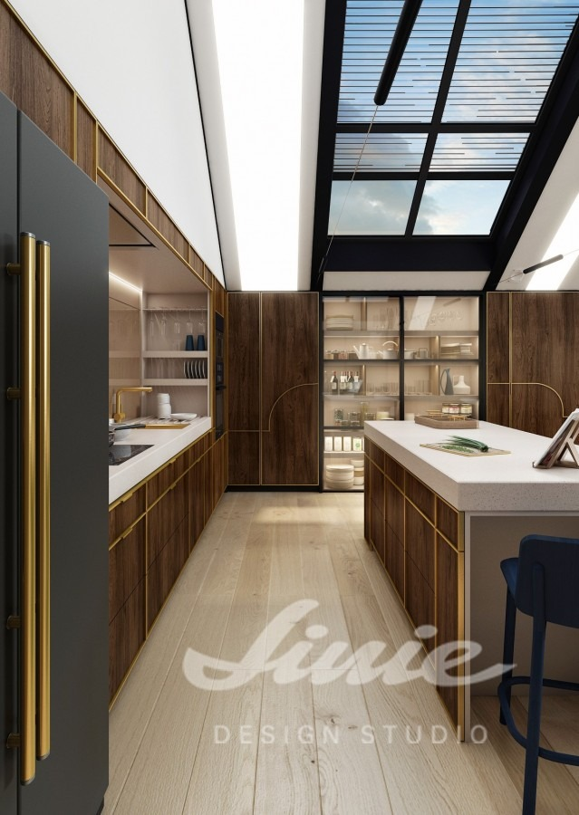 Inspirace pro kuchyně se zlatými detaily