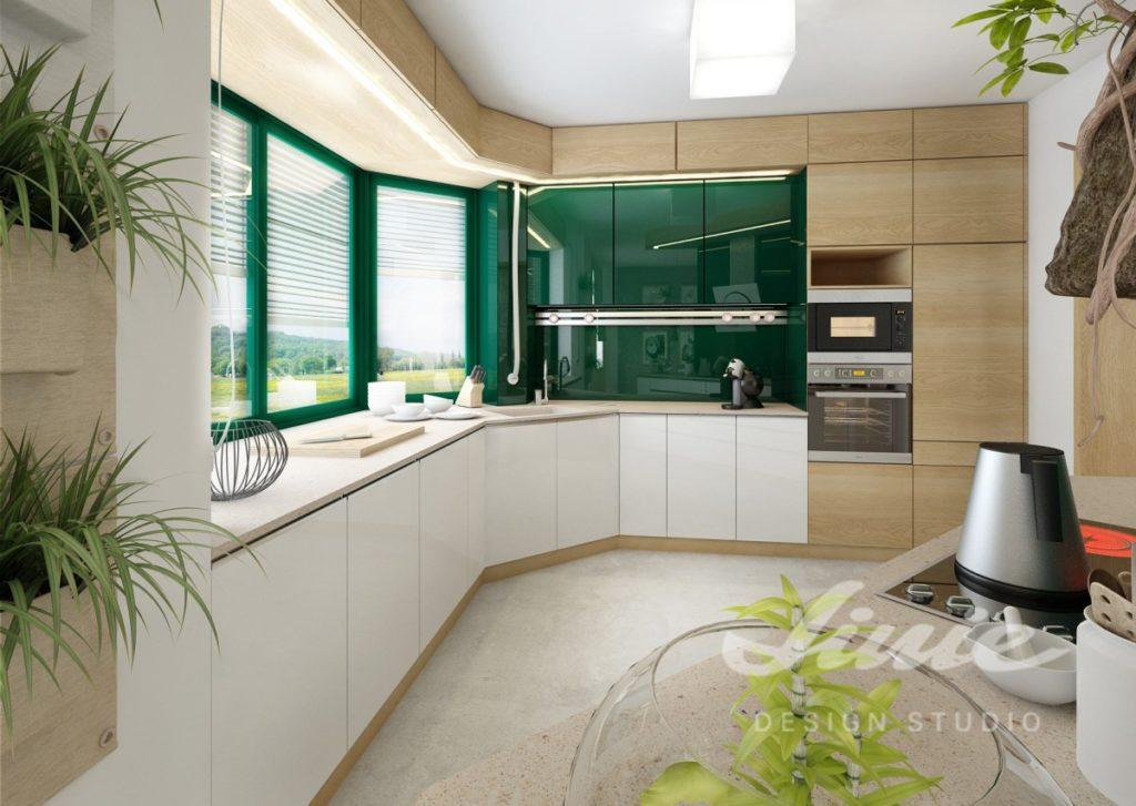 Inspirace pro kuchyně s detaily v tmavě zelených odstínech
