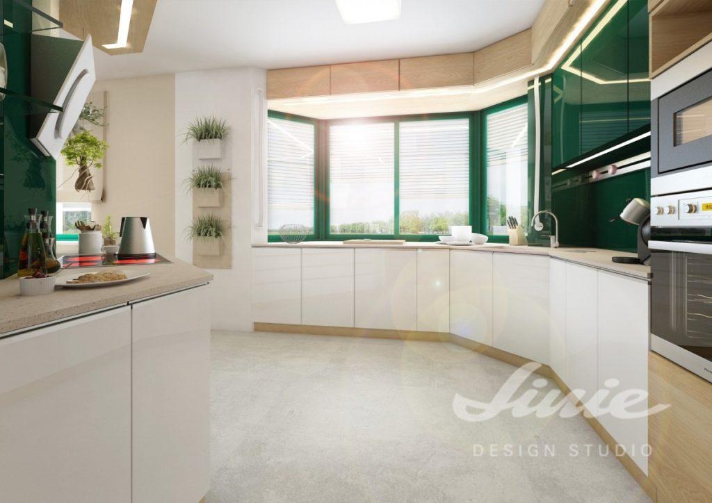 Inspirace pro kuchyně s detaily v tmavě zelené barvě