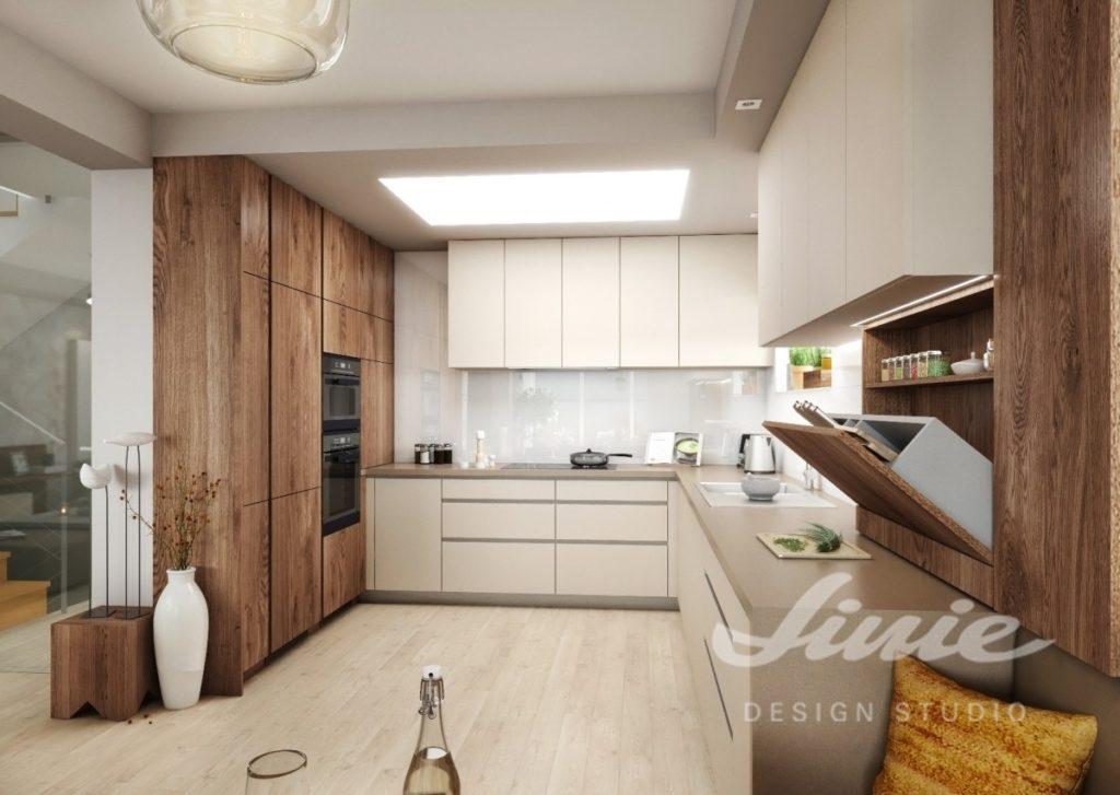 Inspirace pro kuchyně s moderním vzhledem s tmavě hnědým dřevem