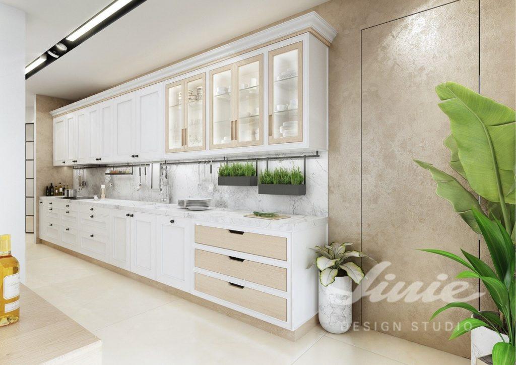 Inspirace pro kuchyně ve světlém provedení s mramorovanou pracovní plochou